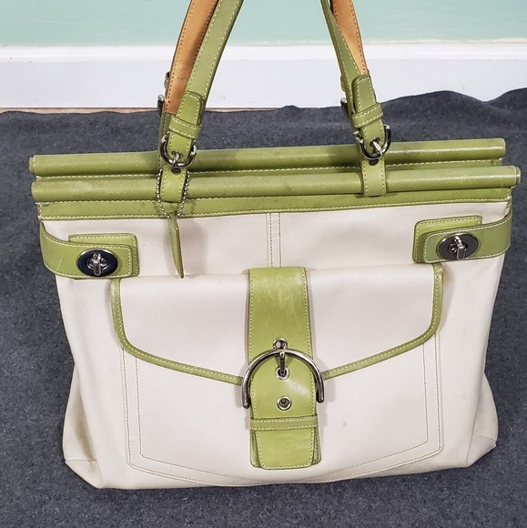 Coach Handbags - Coach Buckle Front Tote Bag - Stained